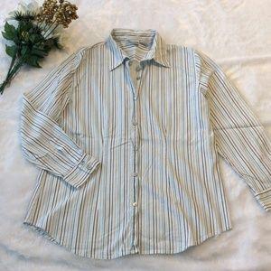Chicos Shirt 2 = 12 White Blue Stripe Button Top L